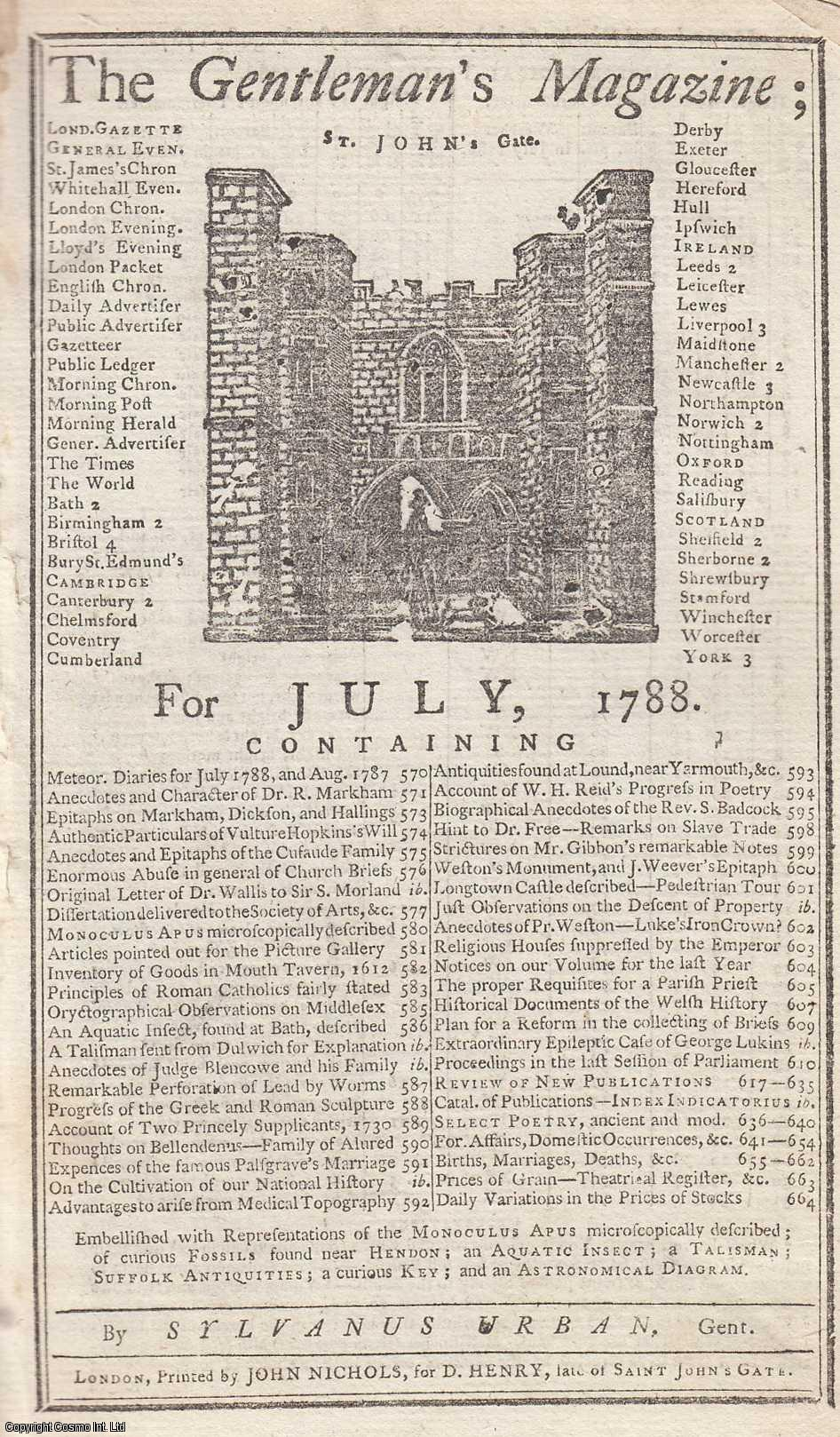 The Gentleman's Magazine for July 1788.  FEATURING Three Plates, including Monoculus Apus, the insect; Aquatic Insects; Suffolk Antiquities, etc., Urban, Sylvanus.