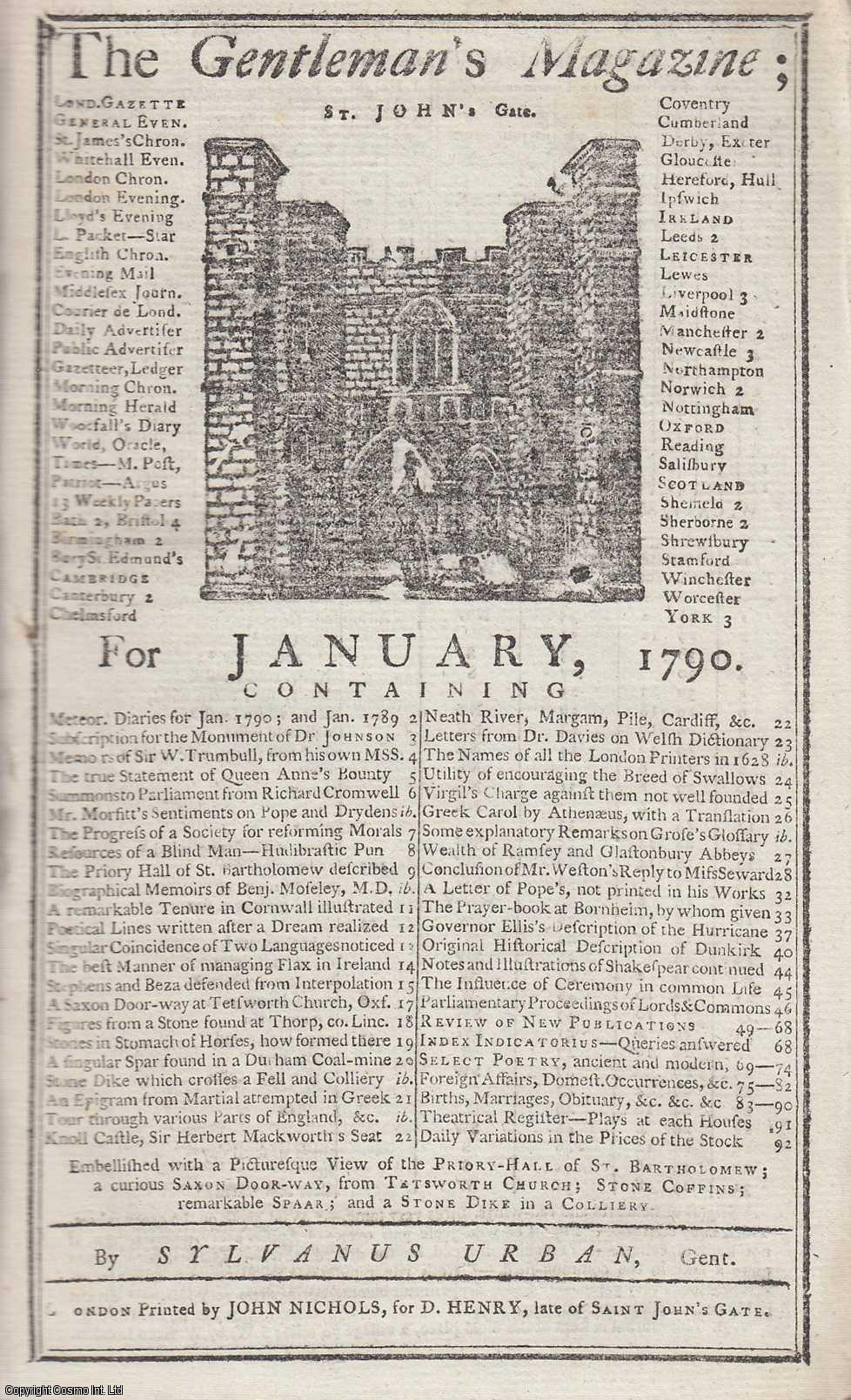 The Gentleman's Magazine for January 1790.  FEATURING Three Plates; A View of the Priory of St. Bartholomew, Smithfield, a Saxon Doorway, Mineral Specimens, etc., Urban, Sylvanus.