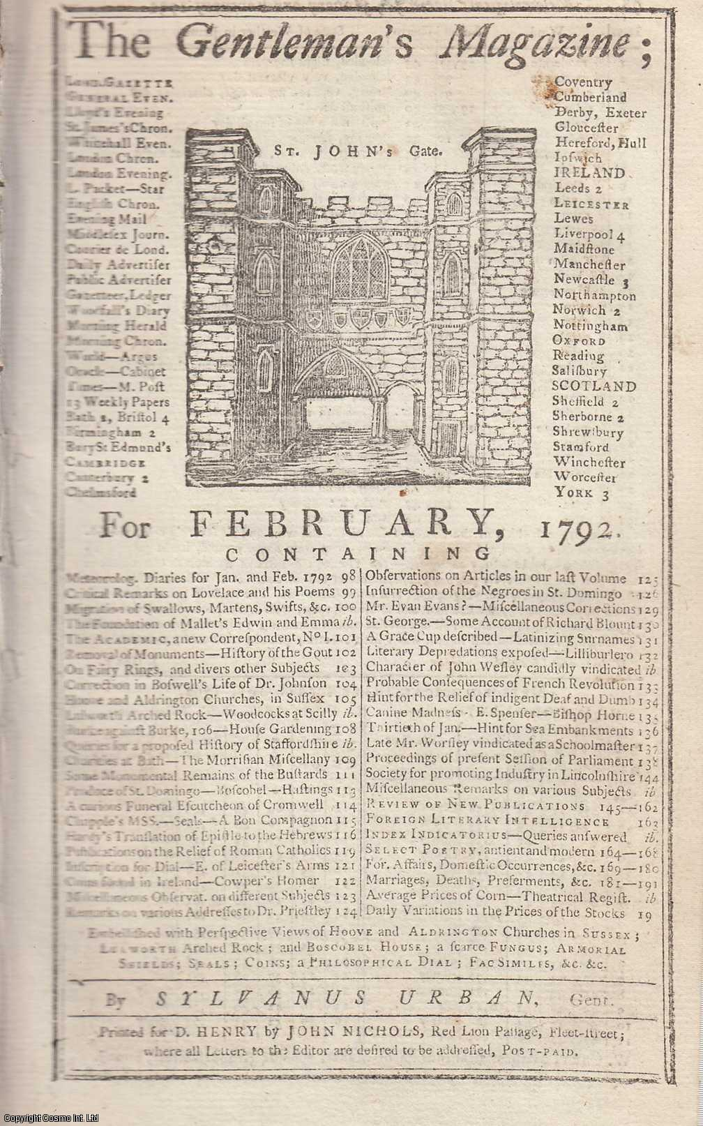 The Gentleman's Magazine for February 1792.  FEATURING One Plate with Armorial Shields, Coins, Seals, Facsimile Signature, etc., Urban, Sylvanus.