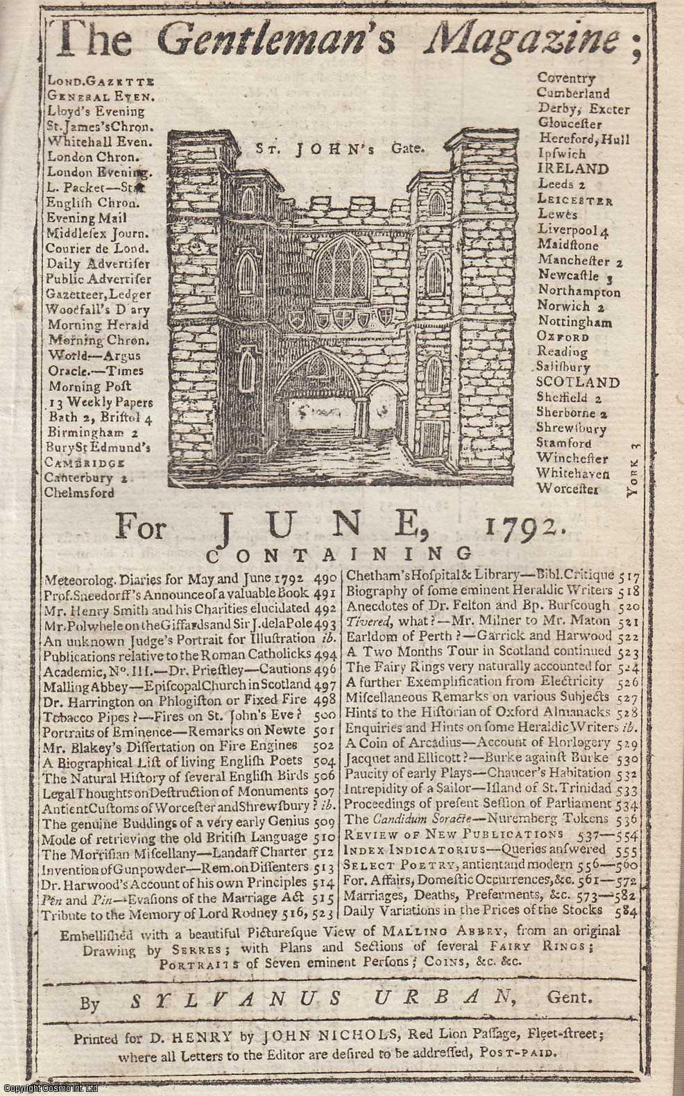 The Gentleman's Magazine for June 1792.  FEATURING Three Plates; Malling Abbey, Portraits of Seven Eminent Persons & Plans of Several Fairy Rings., Urban, Sylvanus.
