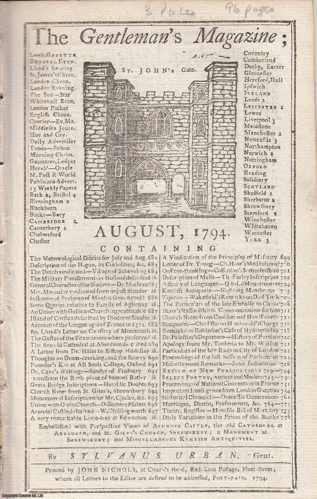 The Gentleman's Magazine for August 1794.  FEATURING Three Plates; Cathedral Church of Old Aberdeen, St. Giles, Shrewsbury and Arundel Castle & Miscellaneous Kentish Antiquities., Urban, Sylvanus.