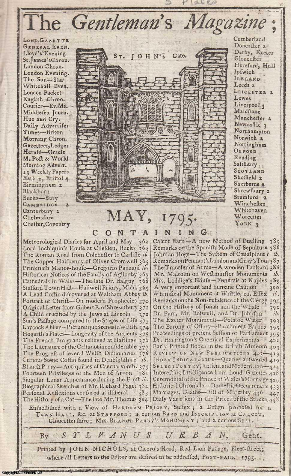 The Gentleman's Magazine for May 1795.  FEATURING Three Plates; Hardham Priory, Sussex, Proposed Plan for Stafford Town Hall & Calcot Barn and Inscription., Urban, Sylvanus.