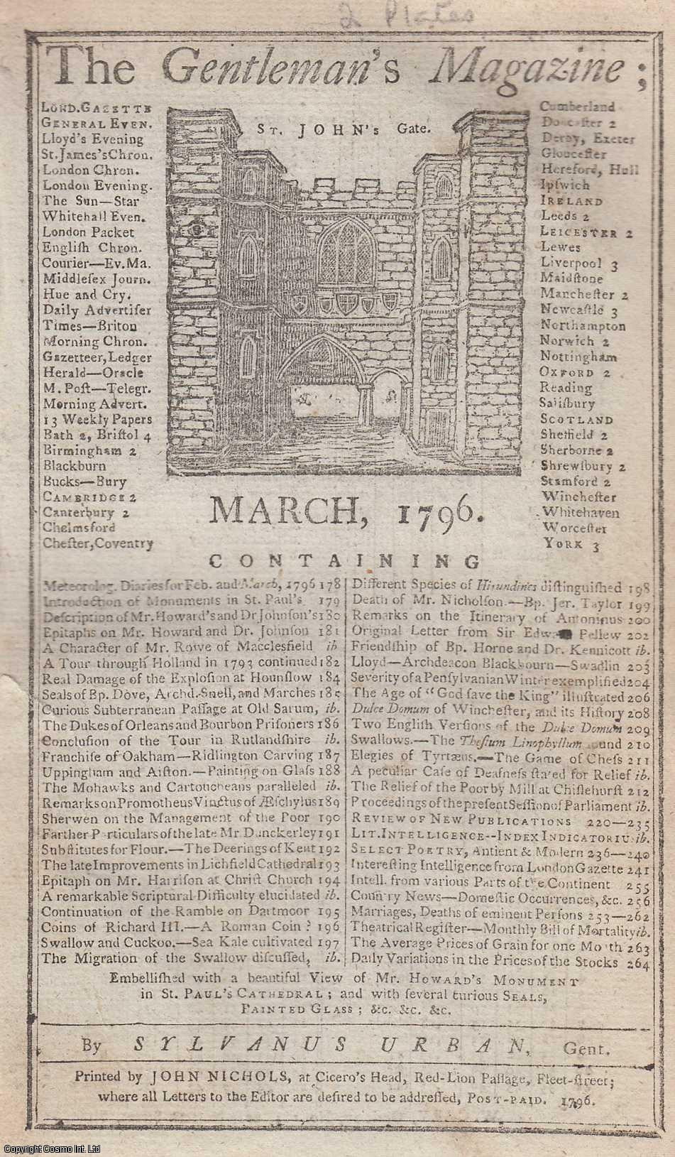 The Gentleman's Magazine for March 1796.  FEATURING Two Plates; John Howard's Monument in St. Paul's Cathedral & Several Seals, etc., Urban, Sylvanus.