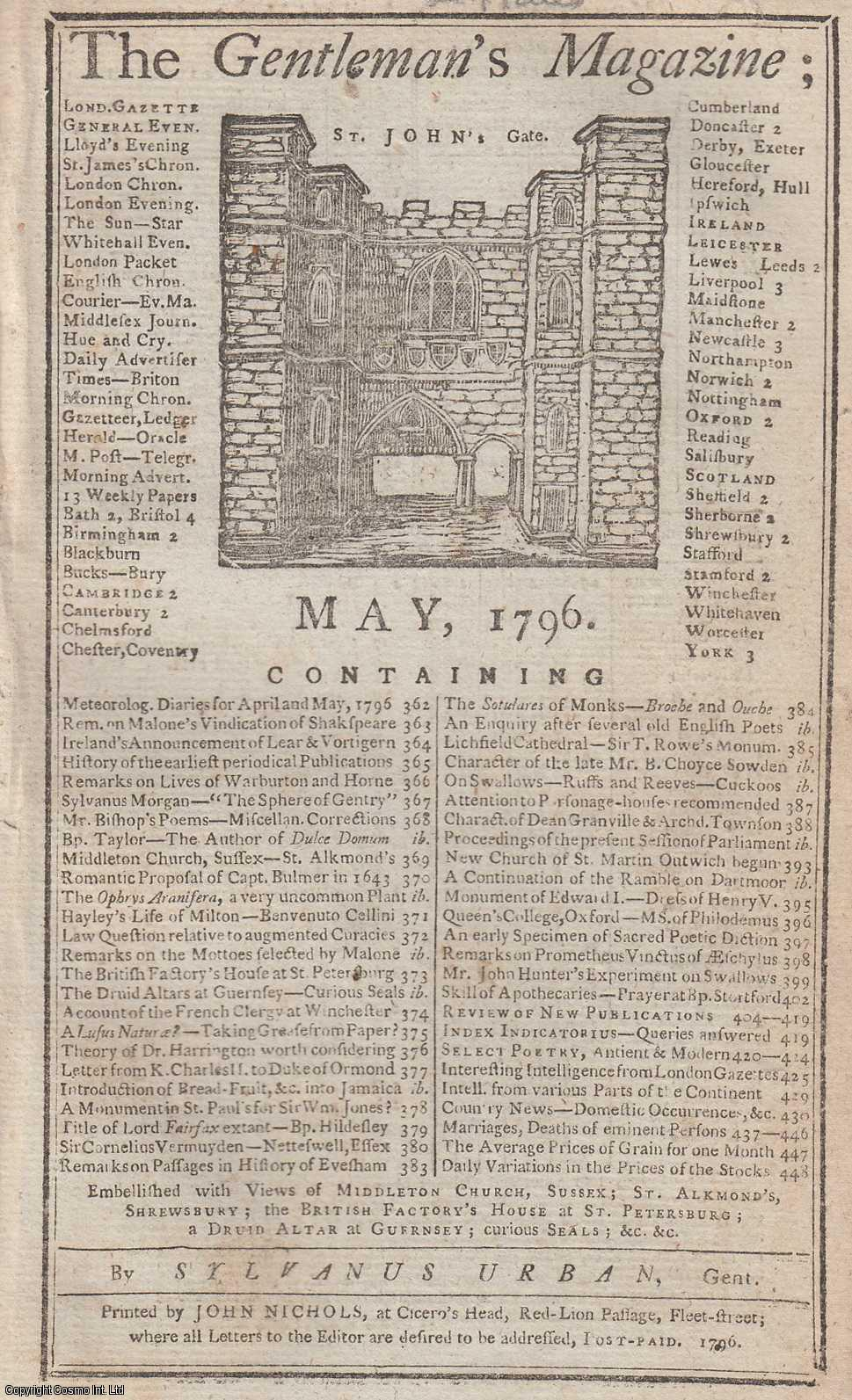 The Gentleman's Magazine for May 1796.  FEATURING Two Plates; St. Alkmund's Church, Shrewsbury and Middleton Church, Sussex & Druid Altar in Guernsey and British Factory House at St. Petersburg, etc., Urban, Sylvanus.