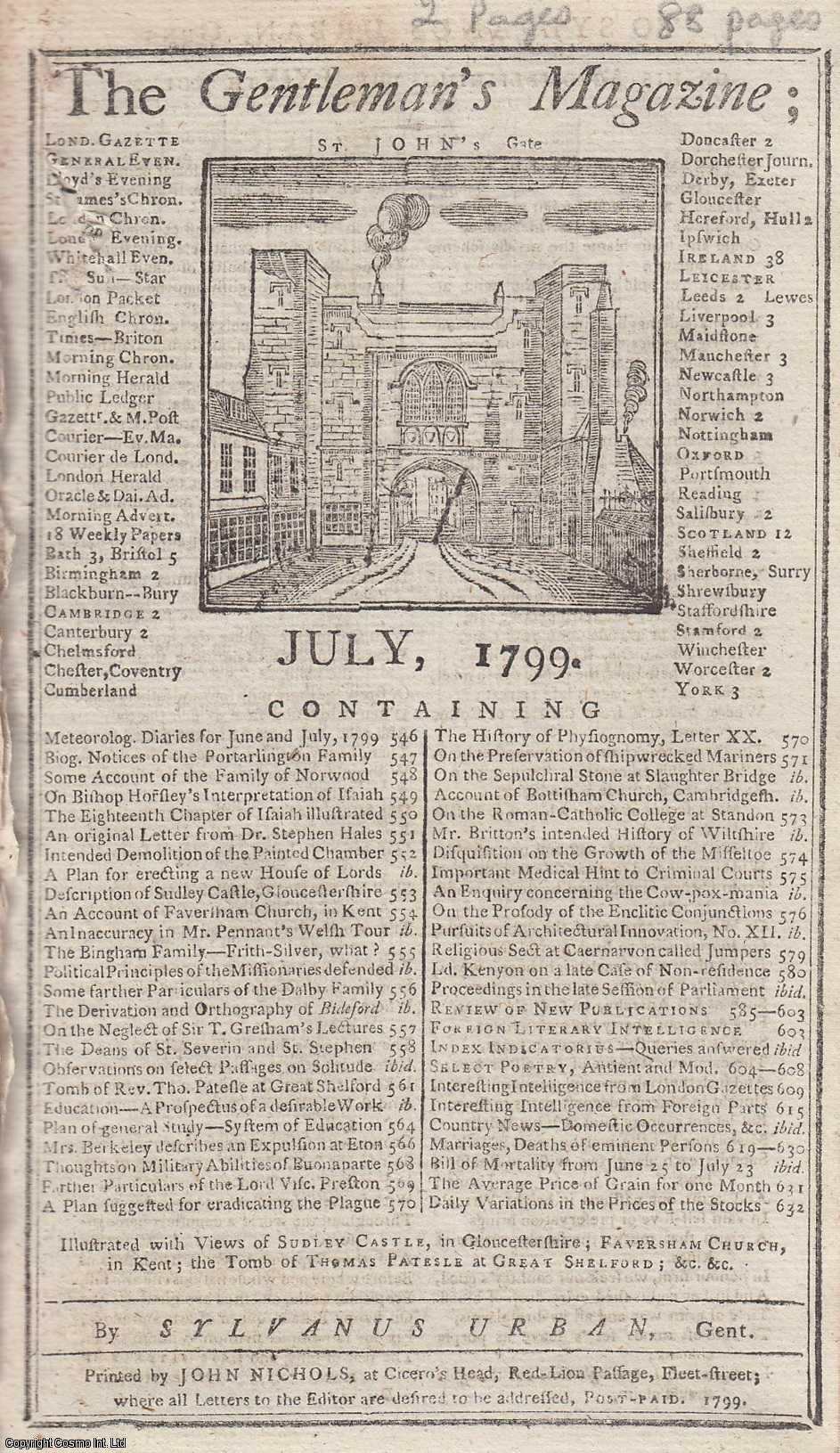 The Gentleman's Magazine for July 1799.  FEATURING Two Plates; Sudley Castle and Faversham Church & the Tomb of Rev. Thomas Patesle, Great Shelford Church., Urban, Sylvanus.