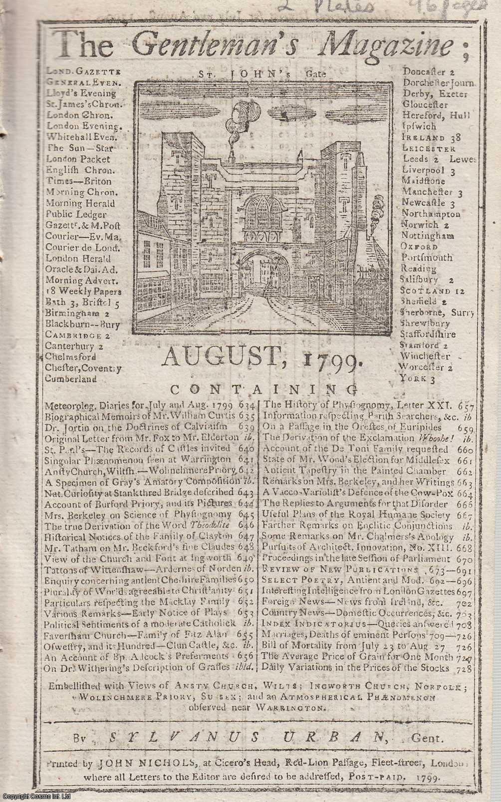 The Gentleman's Magazine for August 1799.  FEATURING Two Plates; Views of Ansty Church, Wilts. and Shulbred Priory & Farley Castle Gateway and Mansion House,Bletse., Urban, Sylvanus.