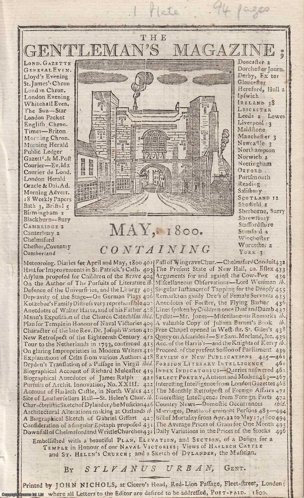 The Gentleman's Magazine for May 1800. FEATURING One Plate; Views of Harlech Castle and St. Helen's Church., Urban, Sylvanus.