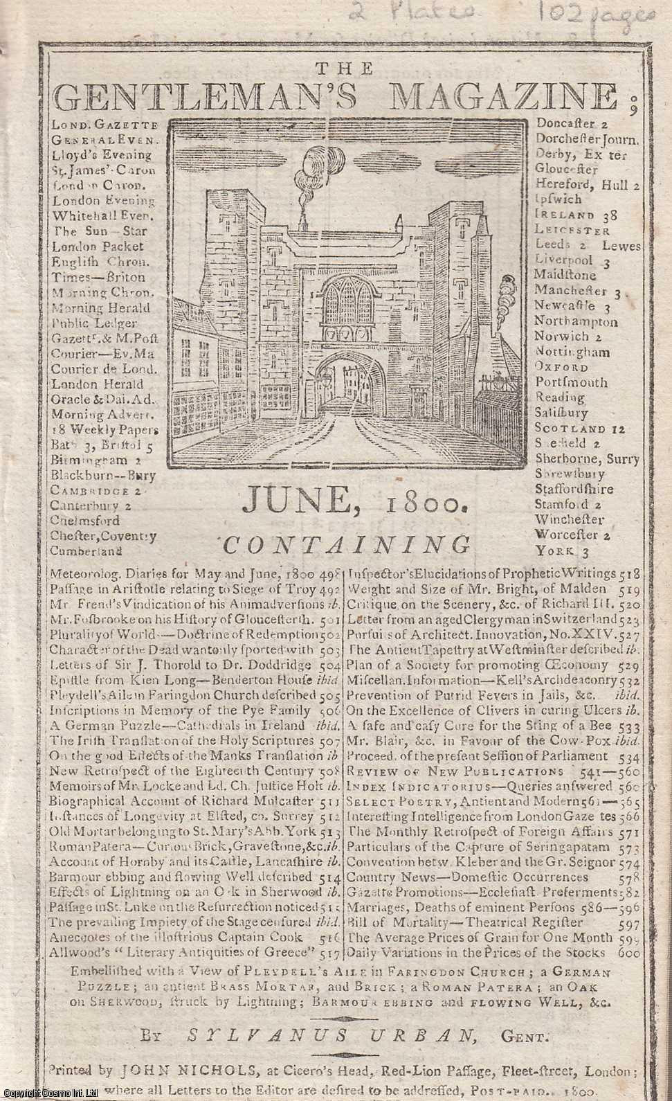 The Gentleman's Magazine for June 1800. FEATURING Two Plates; Pleydell's Aile in Farringdon Church & Ancient Brass Mortar, etc., Urban, Sylvanus.