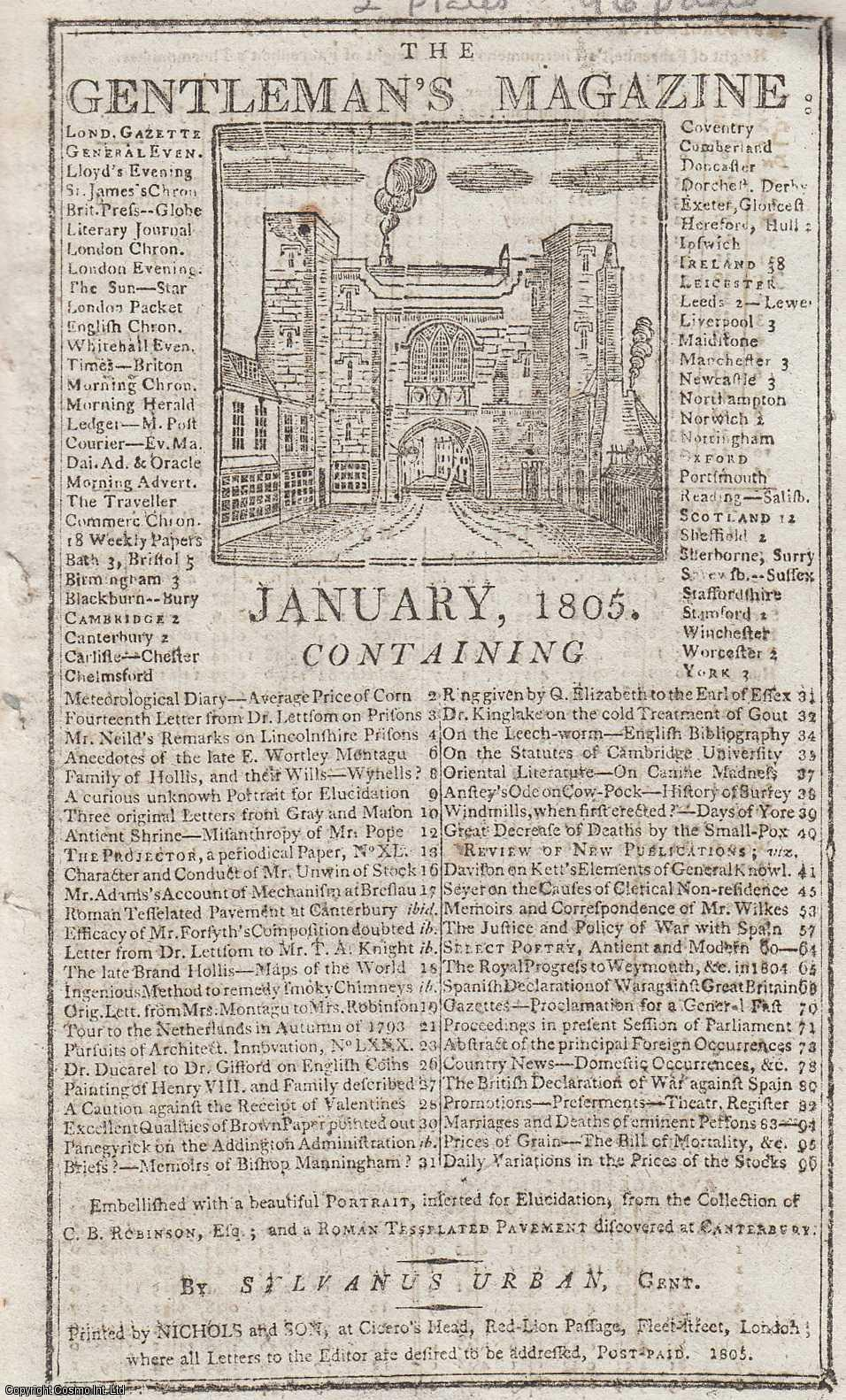 The Gentleman's Magazine for January 1805.  FEATURING Two Plates; Ancient Portrait from Charles B. Robinson's Collection & Tasselated Pavement found in Canterbury, 1758., Urban, Sylvanus.