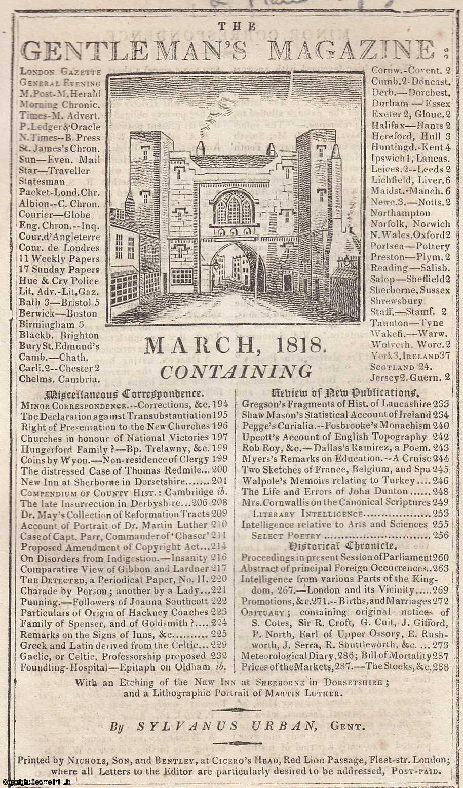 The Gentleman's Magazine for March 1818.  FEATURING Two Plates; New Inn at Sherborne & Lithographic Portrait of Martin Luther., Urban, Sylvanus.
