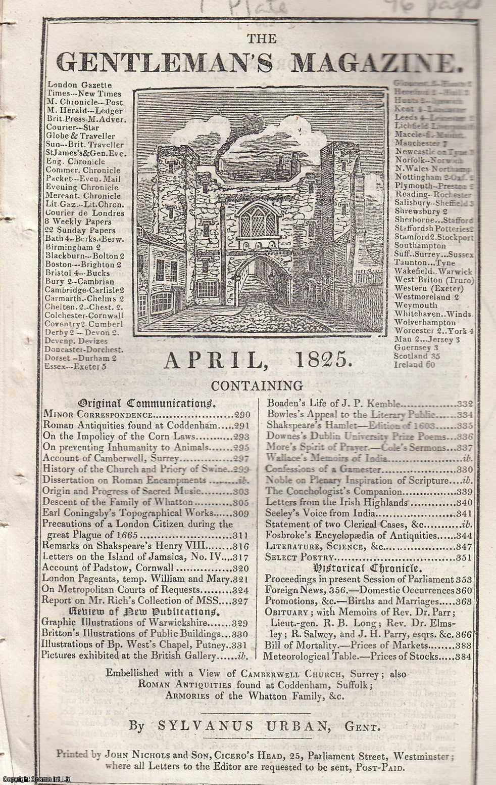 The Gentleman's Magazine for April 1825.  FEATURING One Plate; St. Giles, Camberwell, Surrey., Urban, Sylvanus.