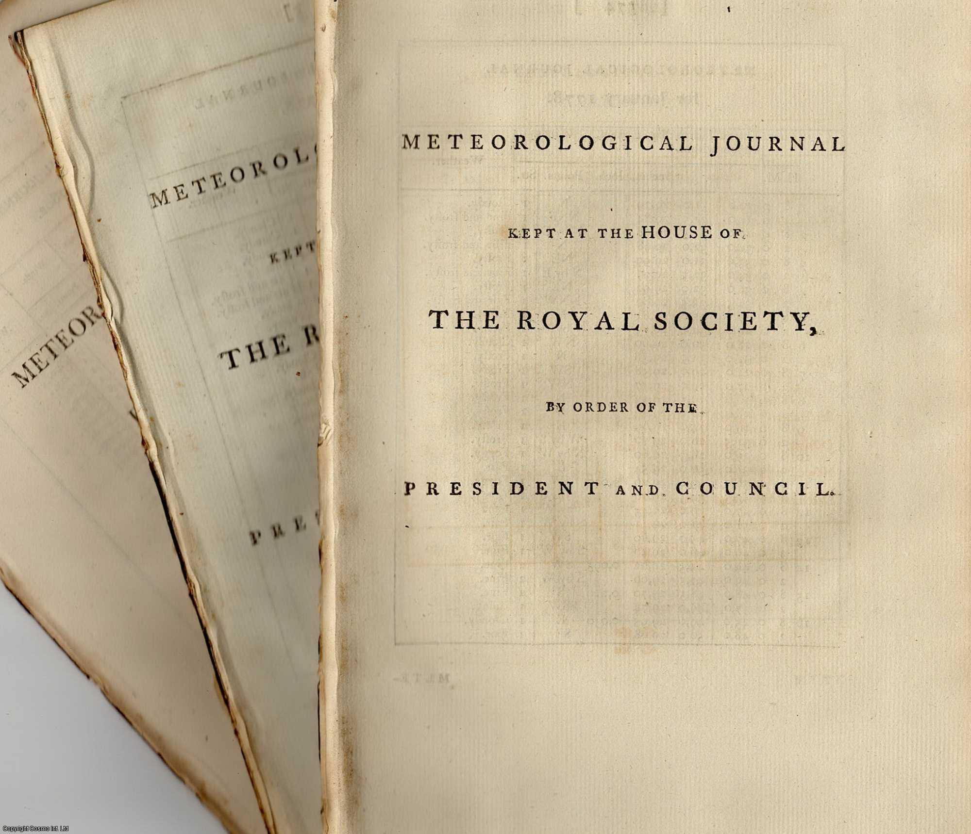 The Meteorological Journal [Rainfall], Kept at the Apartments of the Royal Society. For the years c.1769 - c.1870., [Royal Society].