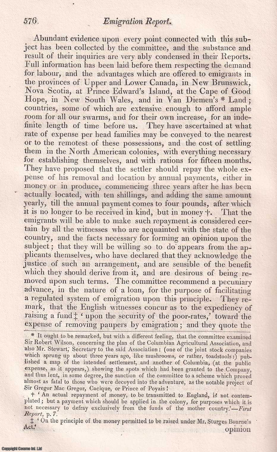 SOUTHEY, ROBERT. - Emigration Report ; the Select Committee's conclusions on United Kingdom emigration. A rare original article from the Quarterly Review, 1828.