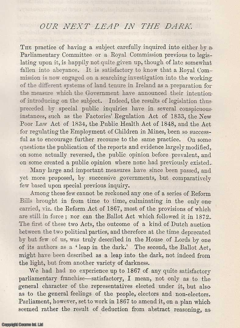 FORTESCUE, HUGH - Our Next Leap in The Dark [on Reform Acts].