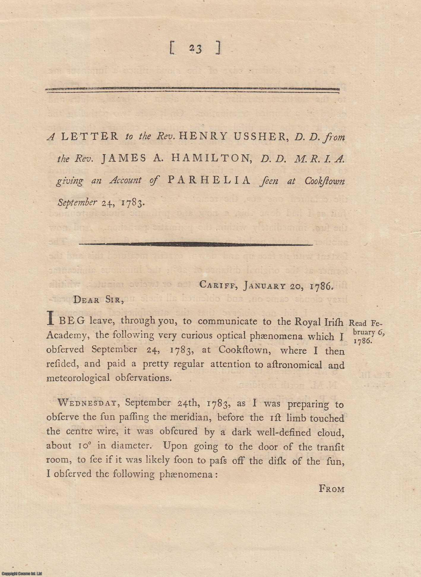 A Letter to the Rev. Henry Ussher, D.D., giving an Account of Parhelia.  From Transactions of the Royal Irish Academy., Hamilton, James A.