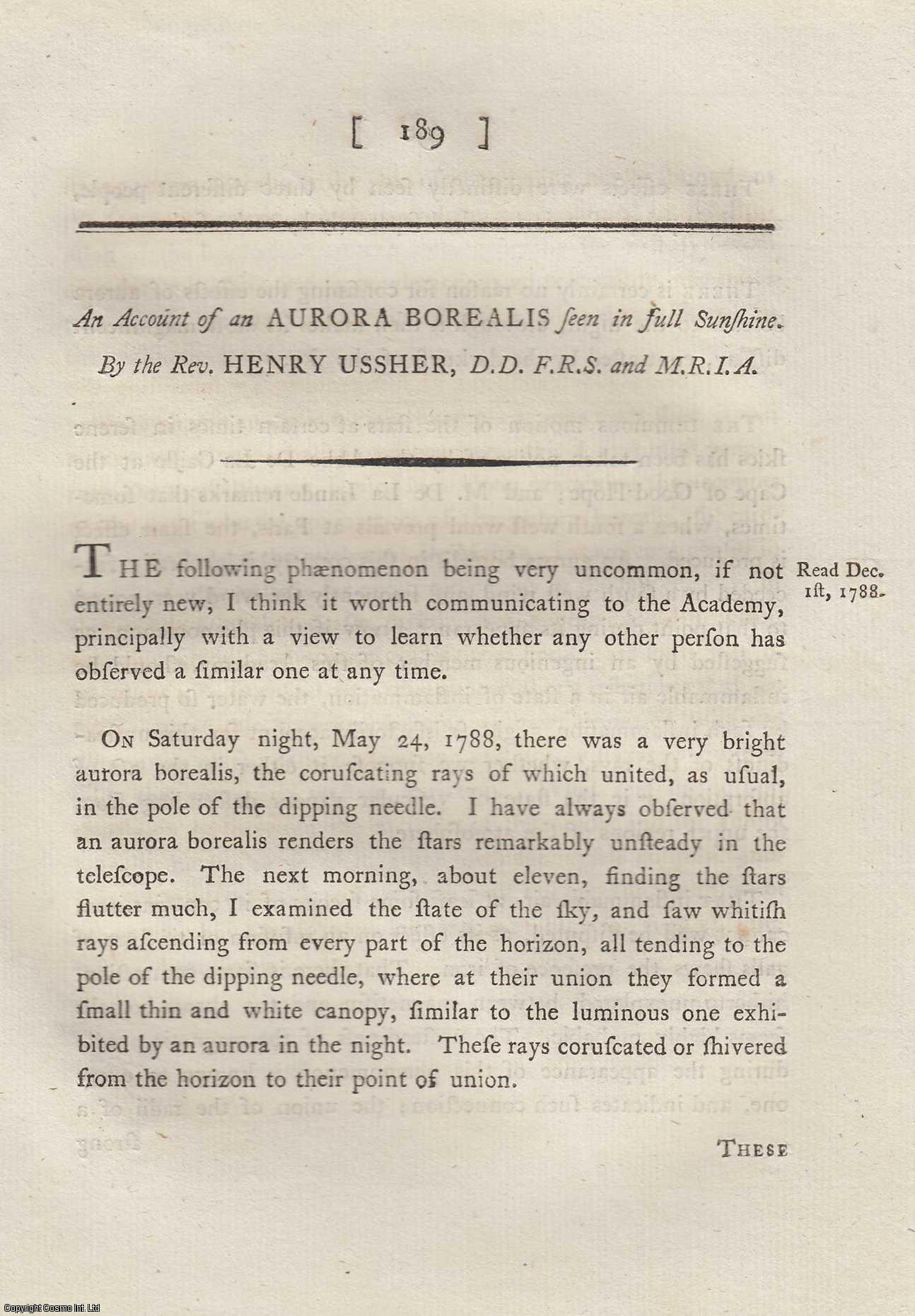 Account of an Aurora Borealis.  From Transactions of the Royal Irish Academy., Ussher, Rev. Henry,  D.D.