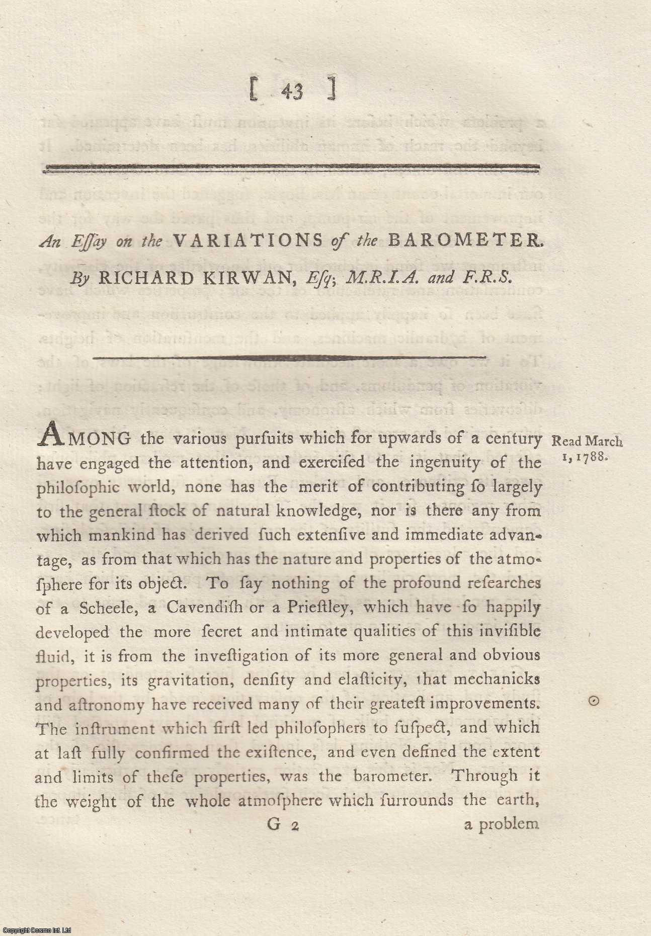 An Essay on the Variations of the Barometer.  From Transactions of the Royal Irish Academy., Kirwan, Richard.