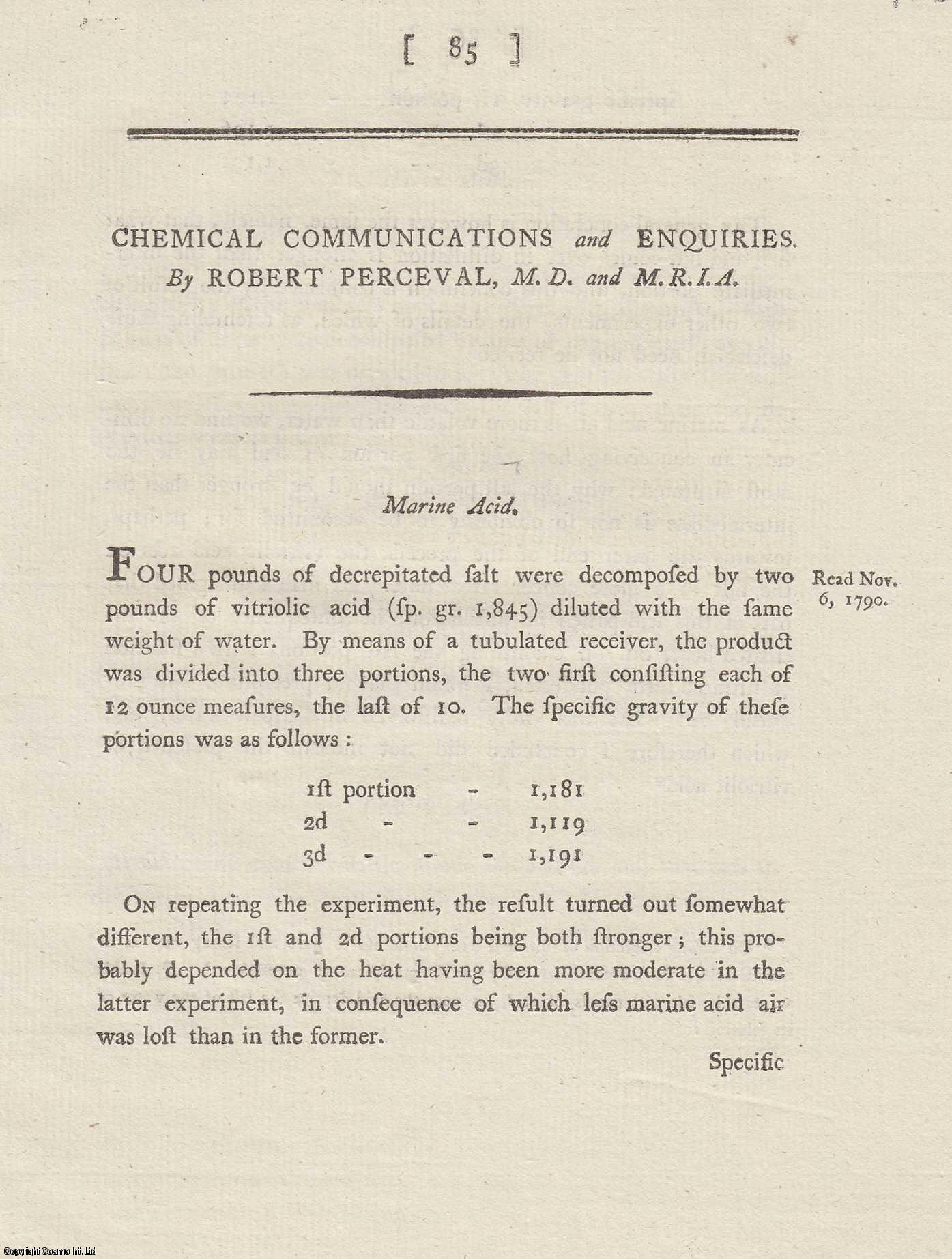 Chemical Communications and Enquiries.  From Transactions of the Royal Irish Academy., Perceval, Robert.