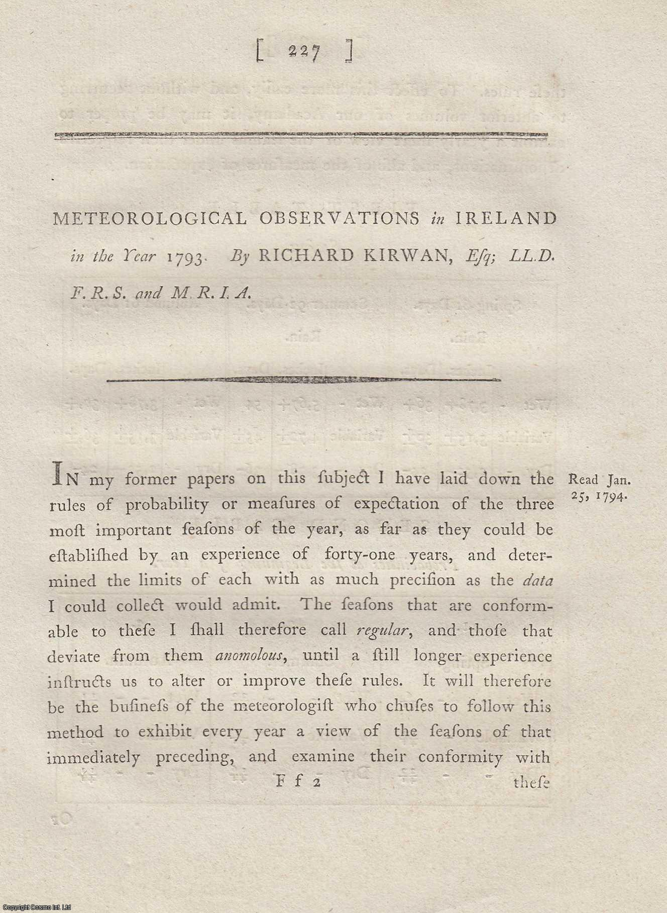 Meteorological Observations in Ireland in the Year 1793.  From Transactions of the Royal Irish Academy., Kirwan, Richard.