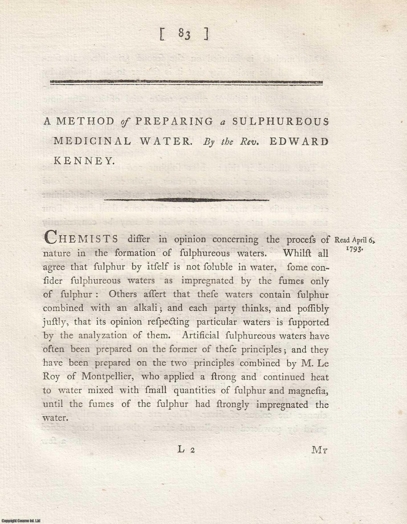 A Method of Preparing a Sulpureous Medicinal Water.  From Transactions of the Royal Irish Academy., Kenney, Edward.