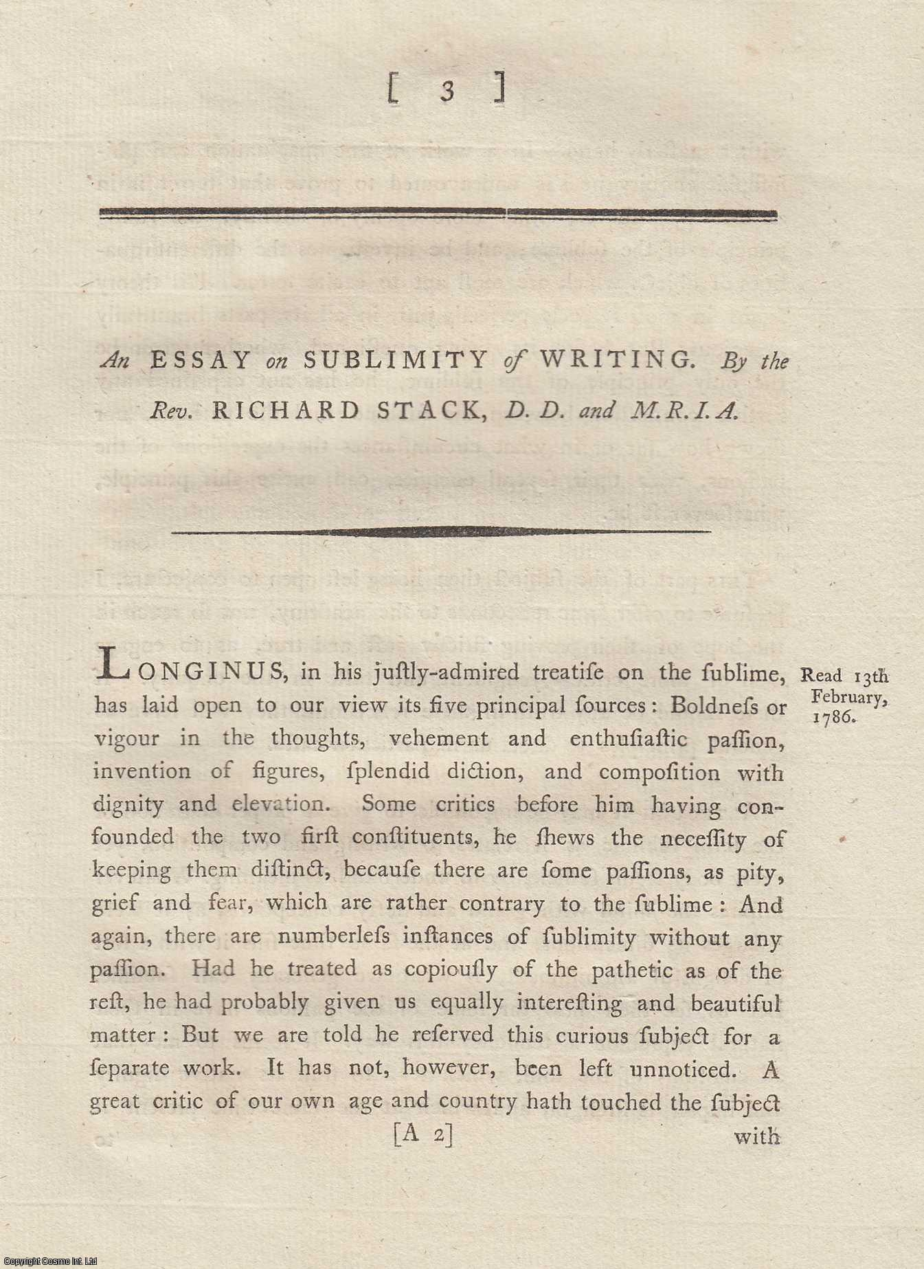 An Essay on Sublimity of Writing.  From Transactions of the Royal Irish Academy., Stack, Richard.