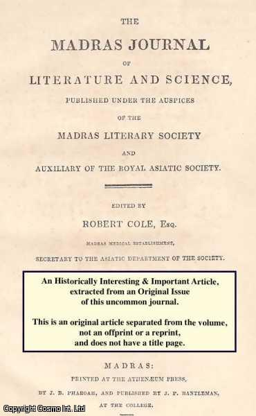 JAMES DALMAHOY, ESQ. - Abstract of Eight Months' Meteorological Observations at Moulmein. A rare original article from the Madras Journal of Literature and Science, 1837.