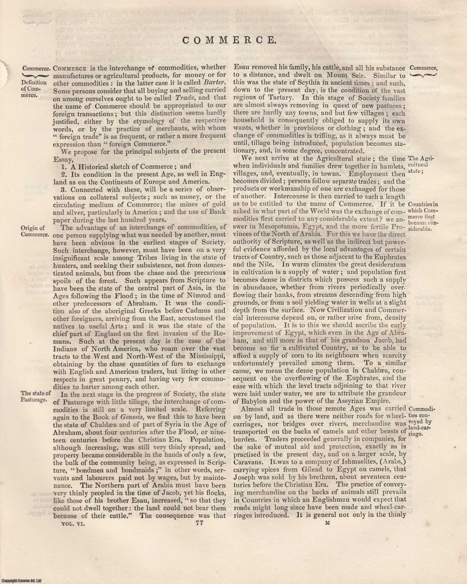 Commerce. An Article From the Encyclopaedia Metropolitana., Joseph Lowe.