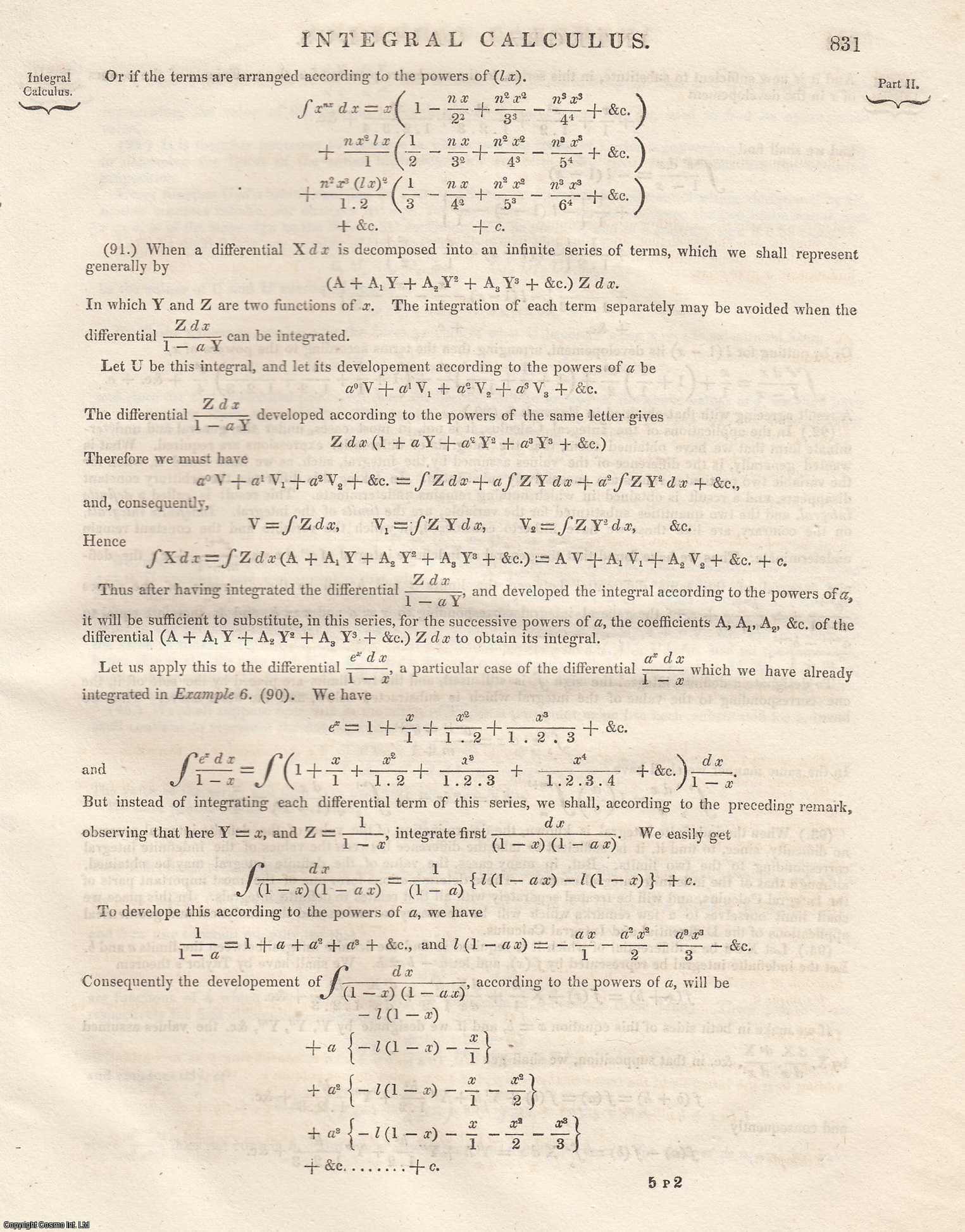 Differential Calculus, Integral Calculus.  An Article From the Encyclopaedia Metropolitana., A. Levy.