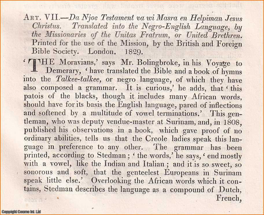 ROBERT SOUTHEY. - New Testament in the Negro Tongue.