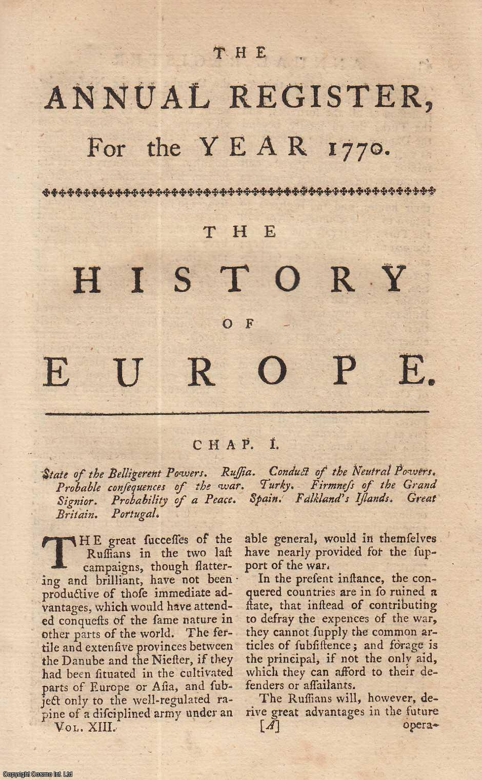The History of Europe., ---.