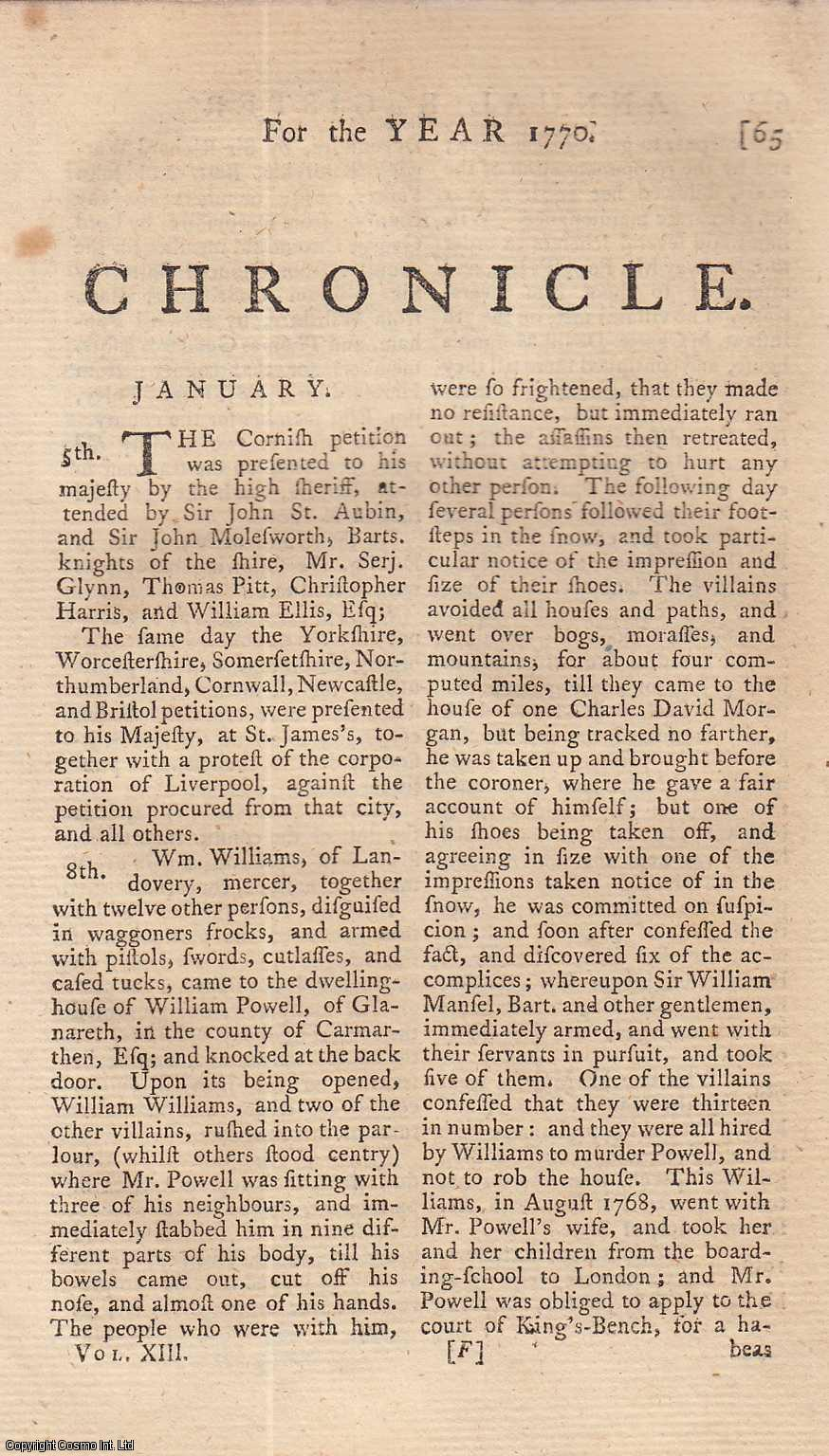 Chronicle. (for 1770), ---.