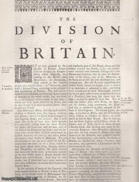 The Division of Britain. From 'Britannia:or a chronographical description of Great Britain and Ireland., William Camden.