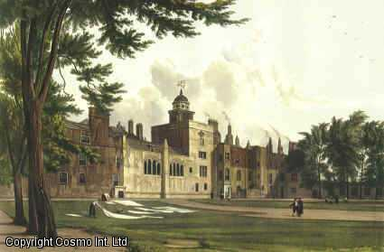 Vintage Print. Charterhouse. Coloured reproductions of two exterior views as original published by Ackermann in 1816. With Descriptive text., [Ackermann, Rudolph (1764-1834).]  R.L. Arrowsmith.