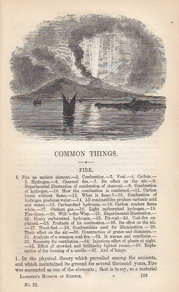 Fire. Fire-Damp, Combustion, Coal Fire, Candles, Lamps etc., Dionysius Lardner.