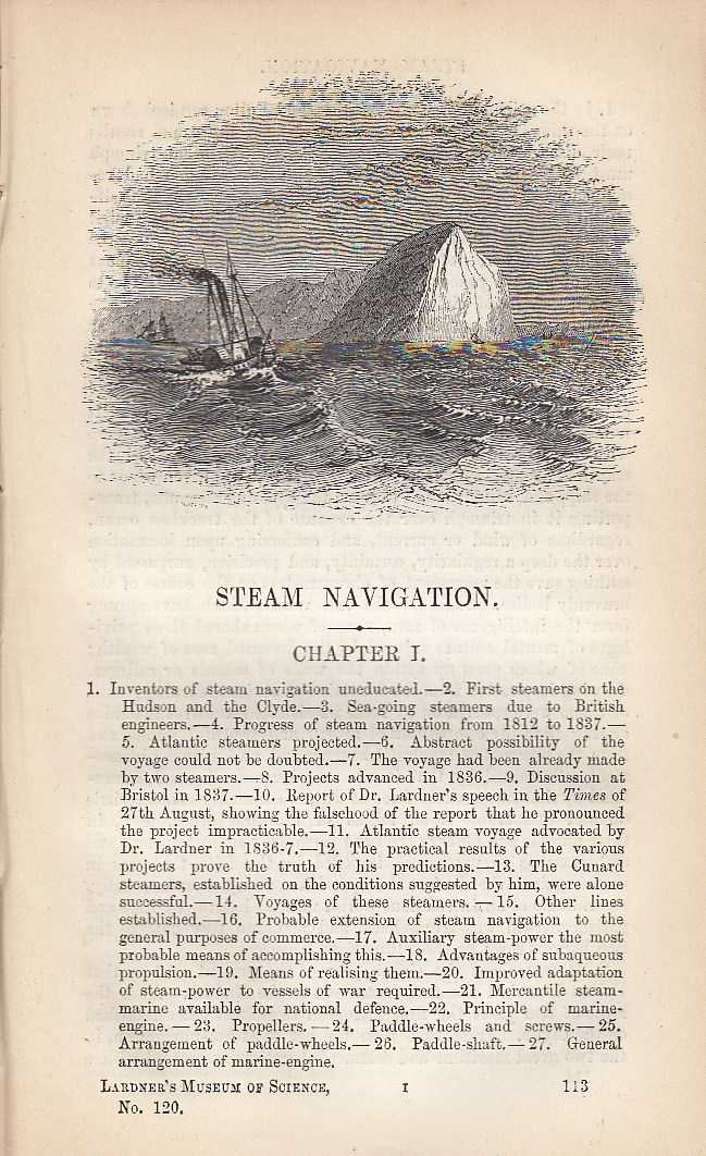 Steam Navigation. Its Inventors, Ship Building, The first Steamers on the Hudson and Clyde etc., Dionysius Lardner.