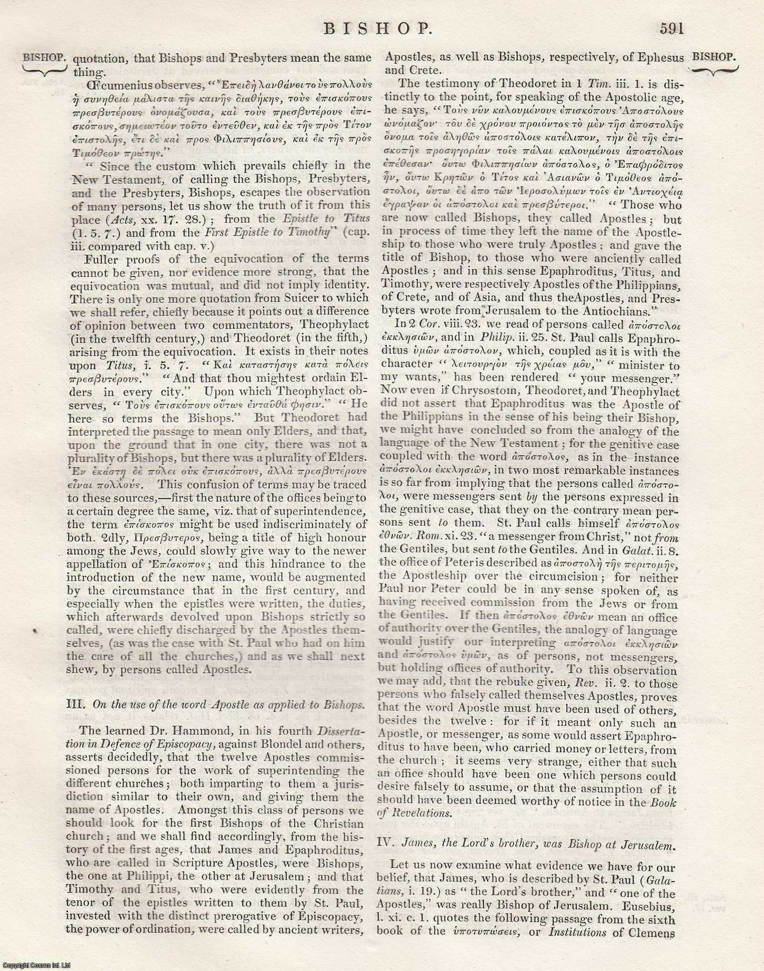 Bishop. [Clergy in the Christian Church].  An Article From the Encyclopaedia Metropolitana., ---.