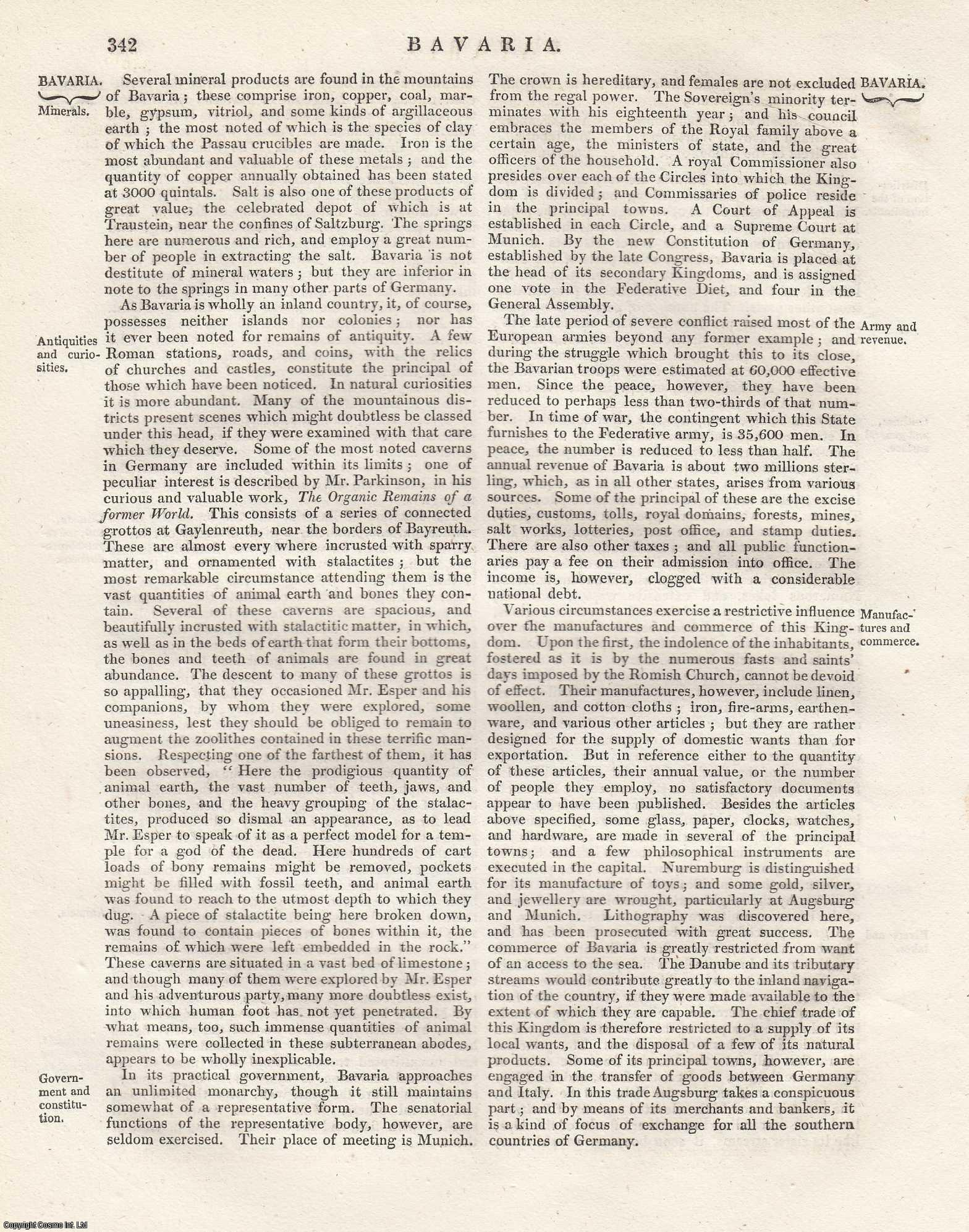 Bavaria [Circles of the German Empire]. An Article From the Encyclopaedia Metropolitana., ---.