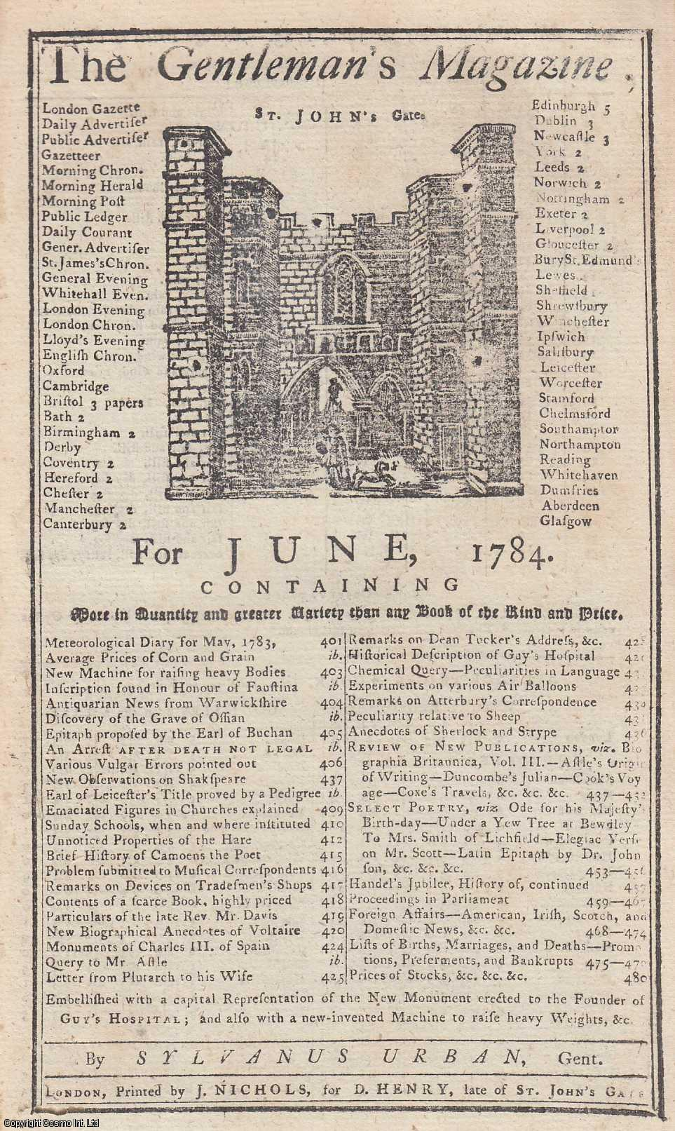 The Gentleman's Magazine for June 1784. FEATURING One plate, of a New Monument erected to the Founder of Guy's Hospital, London., Urban, Sylvanus.