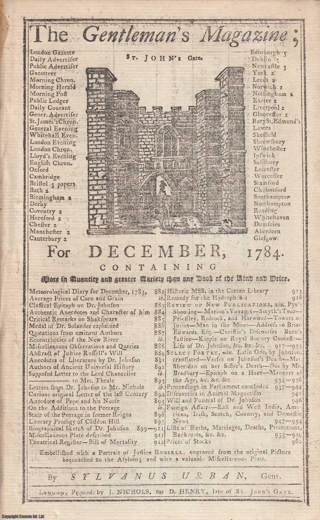 The Gentleman's Magazine for December 1784. FEATURING A folding plate of The Pedigree of Richard Russell;  a Portrait of Richard Russell; a Miscellaneous Plate of Antiquities., Urban, Sylvanus.