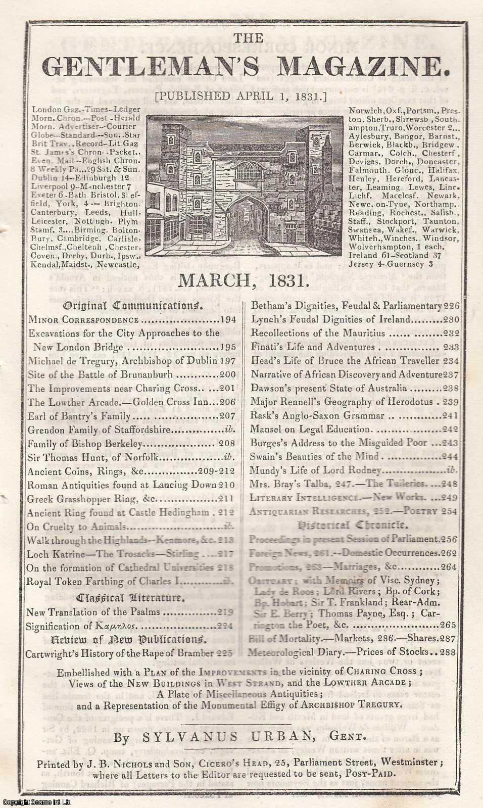 The Gentleman's Magazine for March 1831. FEATURING A Miscellaneous Plate of Antiquities., Urban, Sylvanus.