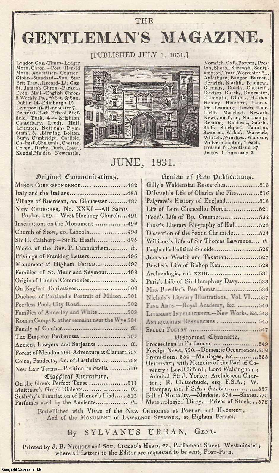 The Gentleman's Magazine for June 1831. FEATURING The Monument of Lawrence Seymour at Higham Ferrars., Urban, Sylvanus.