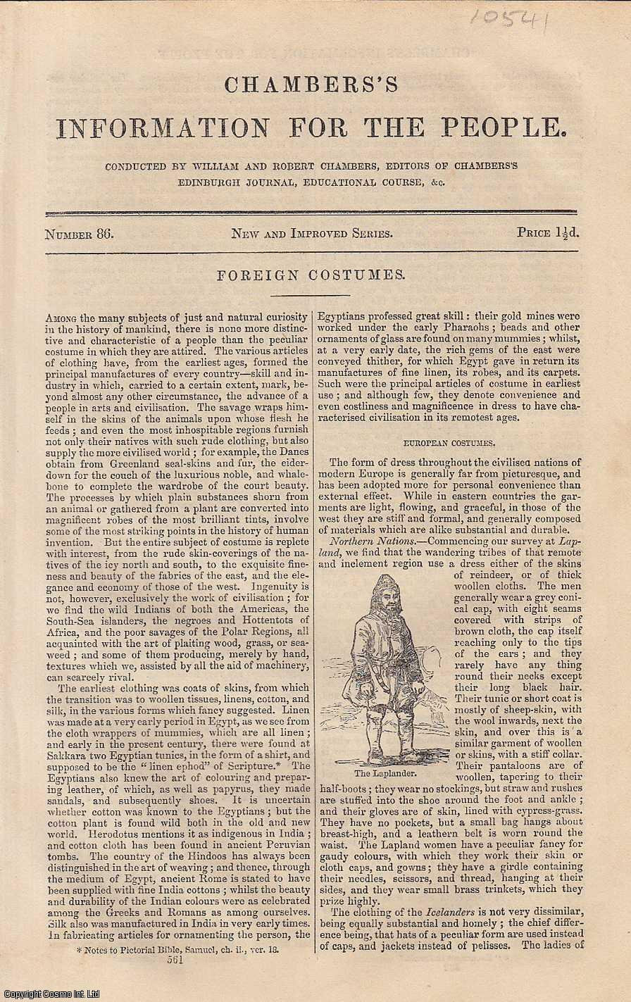 Foreign Costumes. An article from Chambers's Information for the People., Chambers, William & Robert.