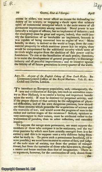 Collins' Account of the English Colony of  New South Wales. Aborigines, Settlers, Trade, etc.