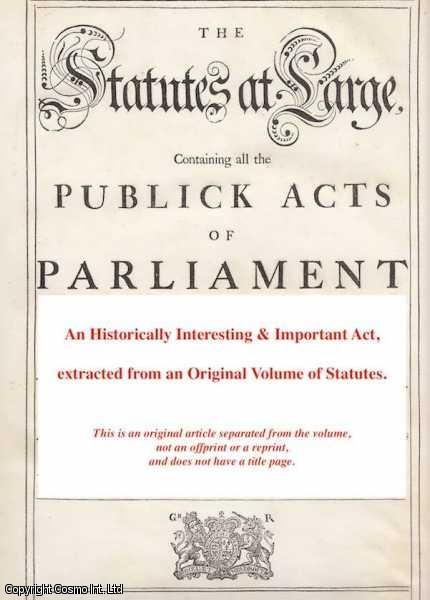 [Bankrupts Act 1718 c. 24]. An Act for the better preventing Frauds committed by Bankrupts., George I