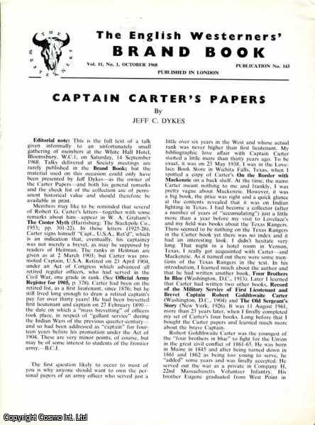 Captain Carter's Papers. Brand Book Vol 11, No. 1. October 1968., Jeff C. Dykes.