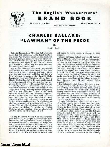 Charles Ballard: Lawman of the Pecos. Brand Book Vol 7, No. 4. July 1965., Eve Ball.