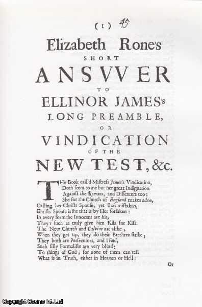 Miscellaneous Short Poetry, 1641-1700. The Early Modern Englishwoman: A Facsimile Library of Essential Works. Series 2: Printed Writings, 1641-1700: Part 3. Volume 4., Joseph P. Crowley & Others. Introduced by Robert C. Evans. Series Editors Betty S. Travitsky & Anne Lake Prescott