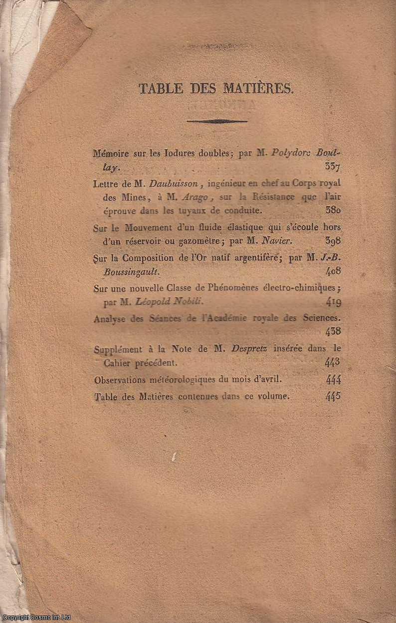 Annales de Chimie et de Physique. Tome Trente-Quatrieme. Avril 1827., MM. Gay-Lussac et Arago. (Editors)