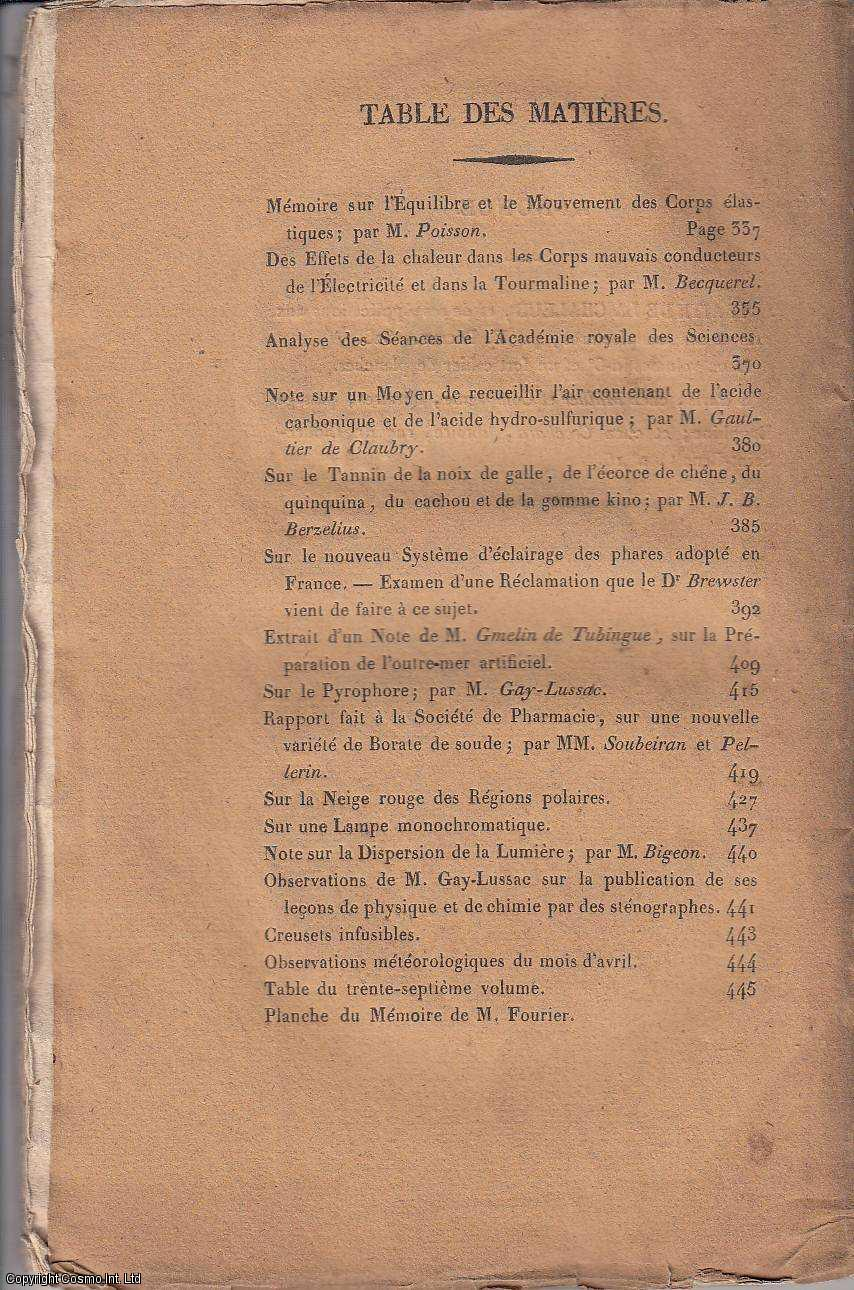 Annales de Chimie et de Physique. Tome Trente-Septieme. Avril 1828., MM. Gay-Lussac et Arago. (Editors)