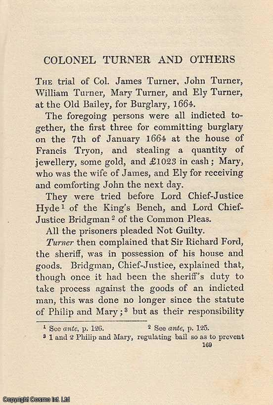 Colonel Turner and Others. An article from State Trials Political and Social., H.L. Stephen. (Editor)